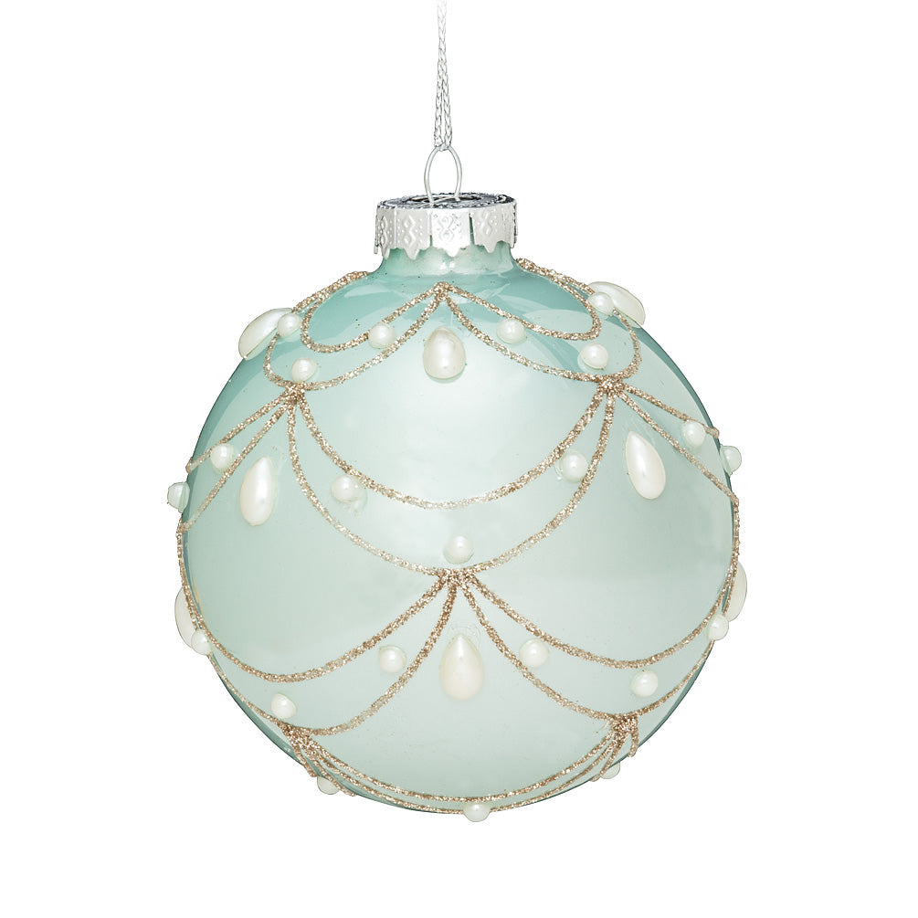 Aqua Swag and Pearl Ball Christmas Ornament