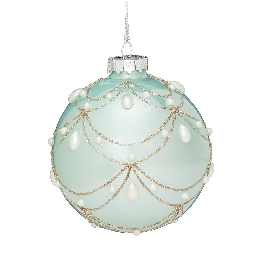 Aqua Swag and Pearl Ball Ornament
