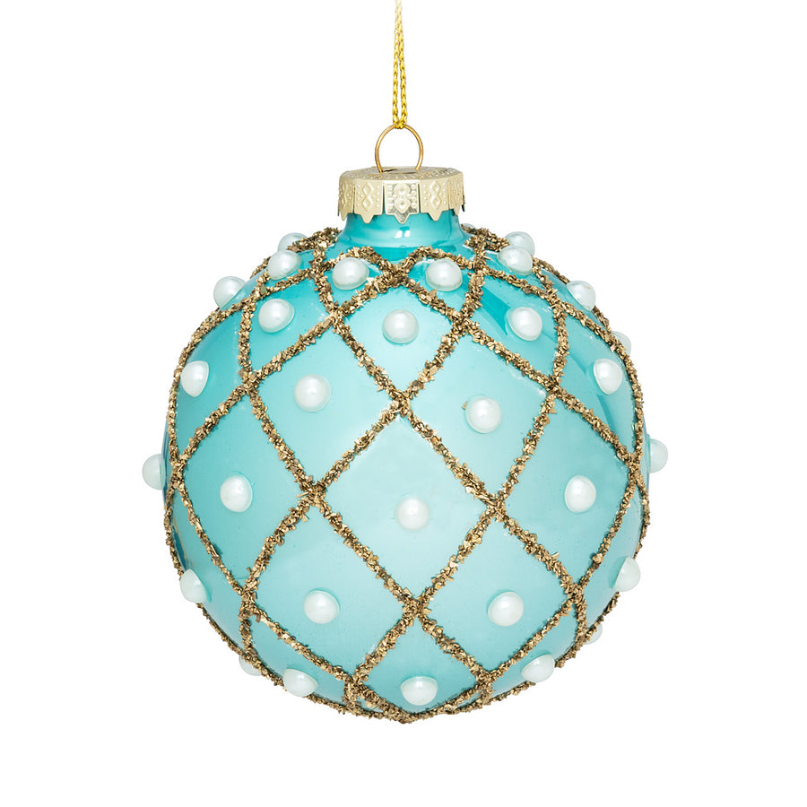 Check and Pearl Ball Ornament