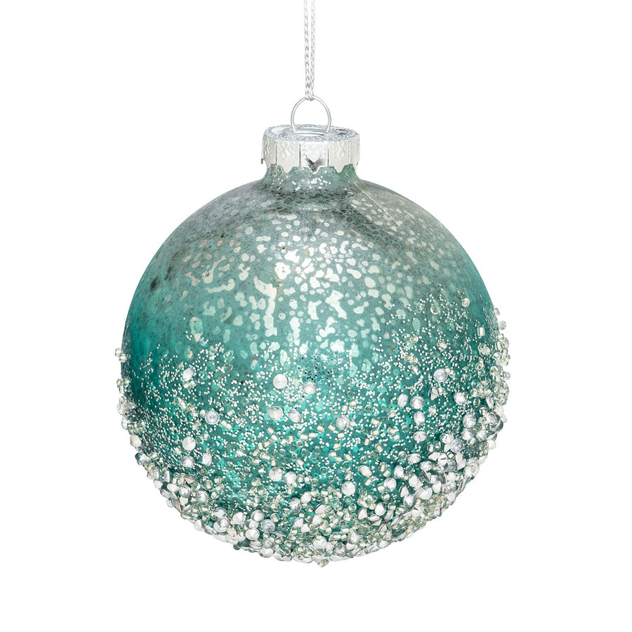 Aqua Ombre Ice Glass Ball Ornament