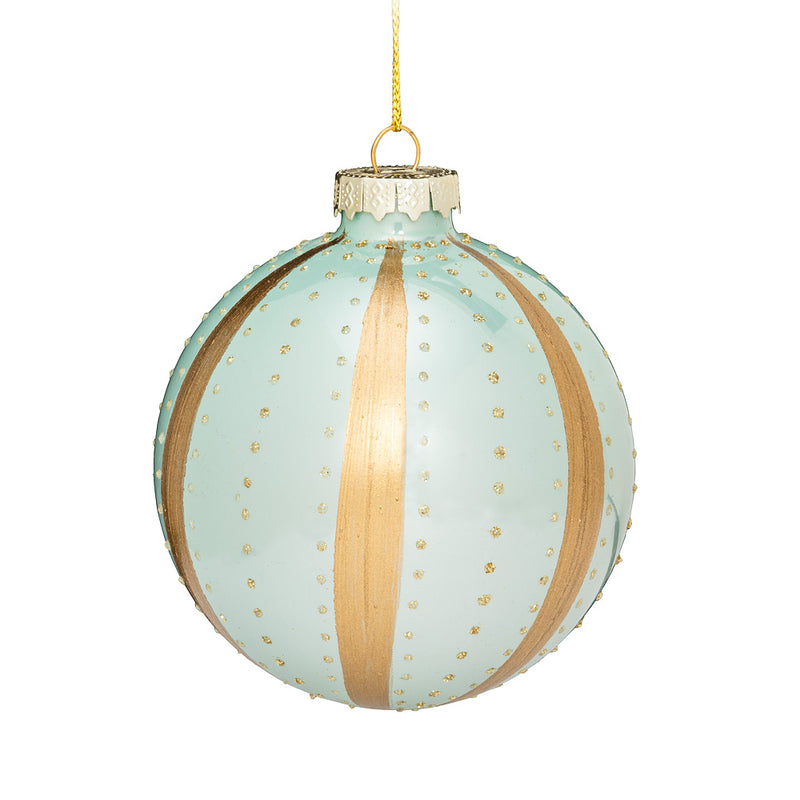 Aqua Band and Dot Glass Ornament - Putti Christmas Canada