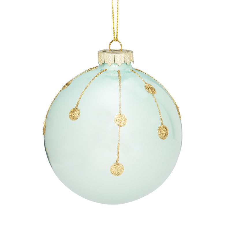 Turquoise and Gold Line Dot Christmas Ornament | Putti Fine Furnishings