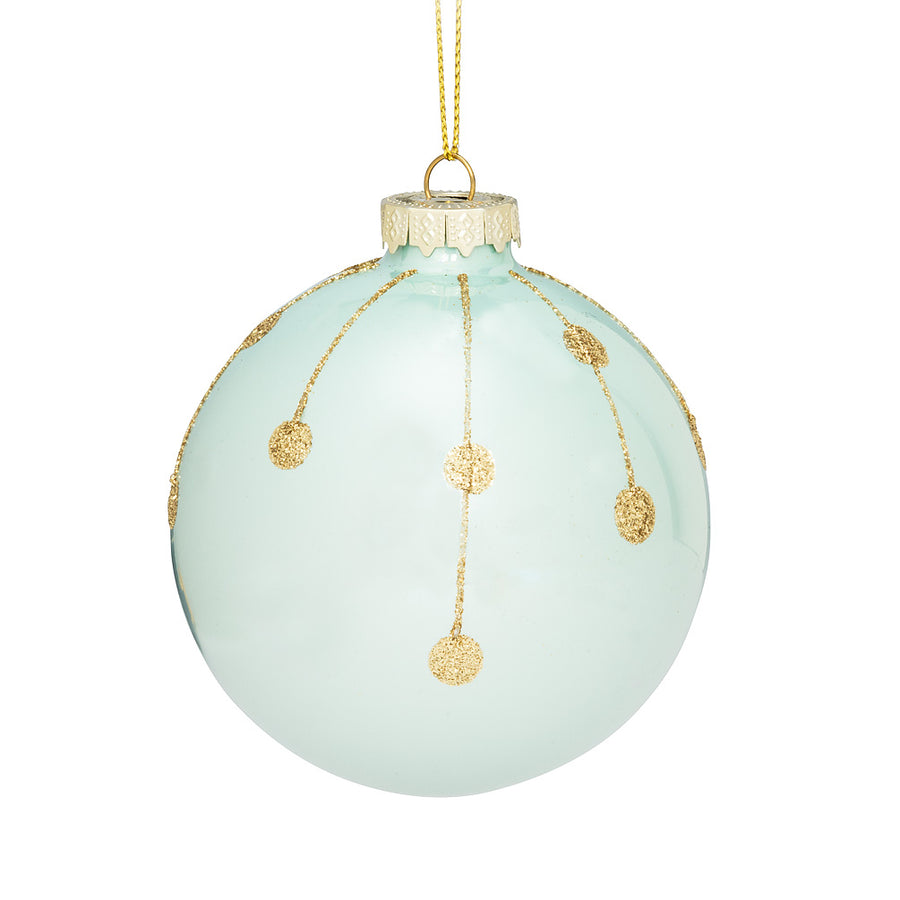 Turquoise and Gold Line Dot Ornament