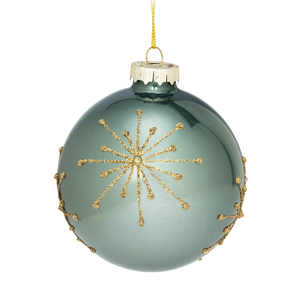 Pale Aqua Gold Beaded Glass Ball Christmas Ornament - Putti Christmas Canada