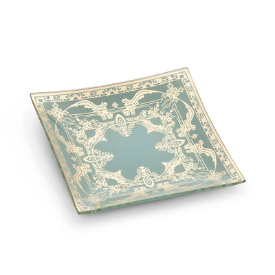 Small Square Aqua Plate with Filigree, AC-Abbott Collection, Putti Fine Furnishings