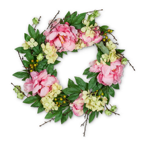 Pink Peony & Twig Wreath - Large-Artificial Flowers-AC-Abbott Collection-Putti Fine Furnishings