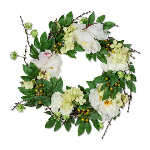 White Peony & Twig Wreath - Large -  Artificial Flowers - AC-Abbot Collection - Putti Fine Furnishings Toronto Canada