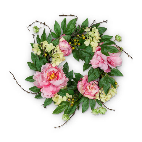Pink Peony & Twig Wreath - Medium-Artificial Flowers-AC-Abbott Collection-Putti Fine Furnishings