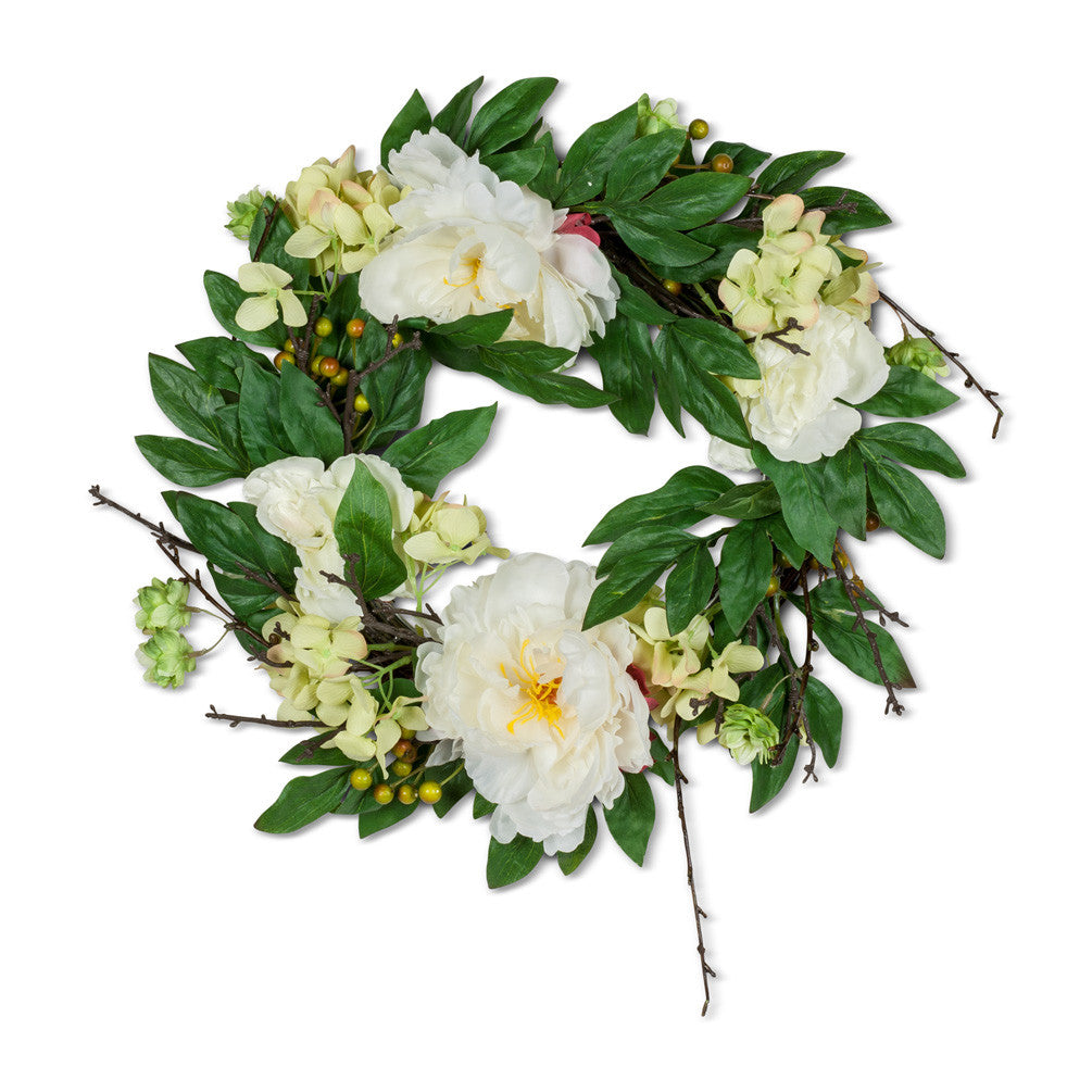 White Peony & Twig Wreath - Medium-Artificial Flowers-AC-Abbott Collection-Putti Fine Furnishings