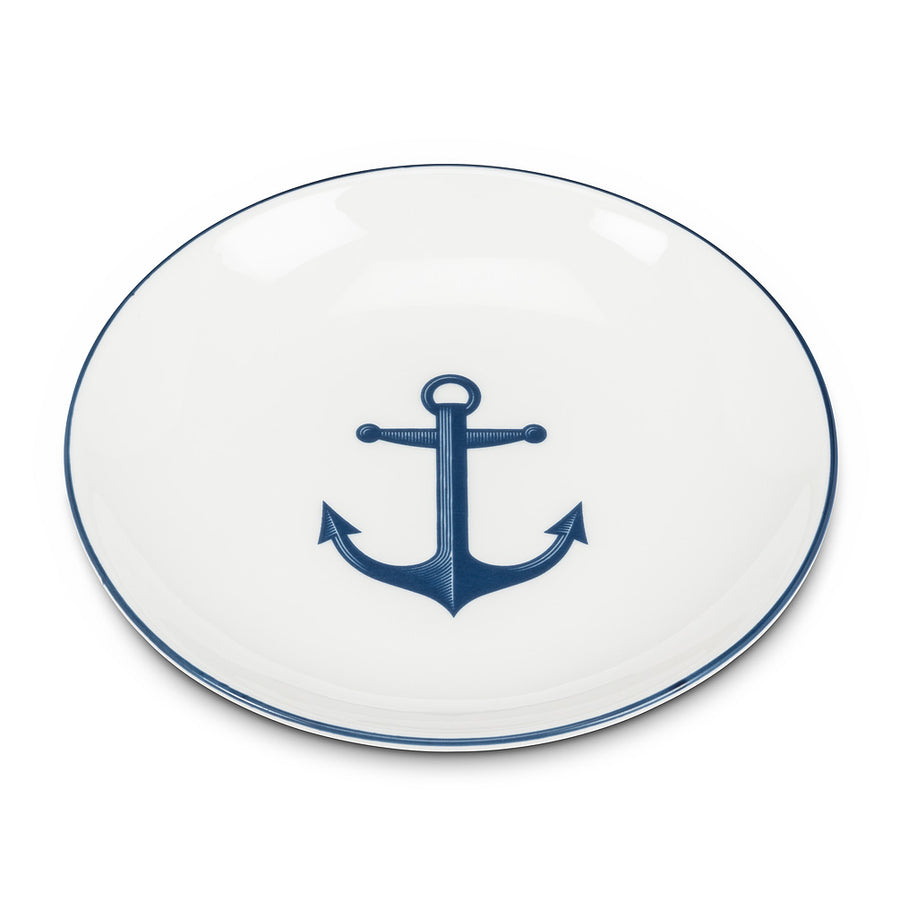 Small Round Dish with Anchor