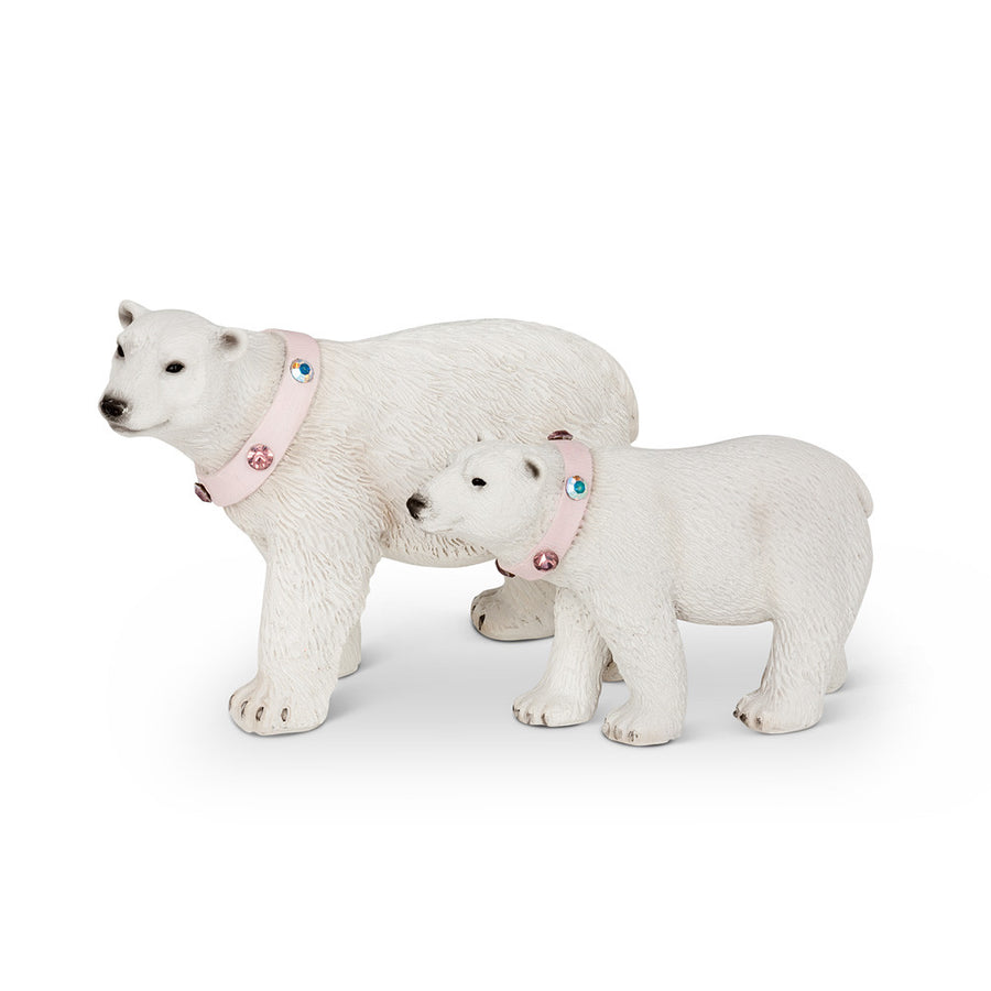 Polar Bears with Gem Collars - Set of 2