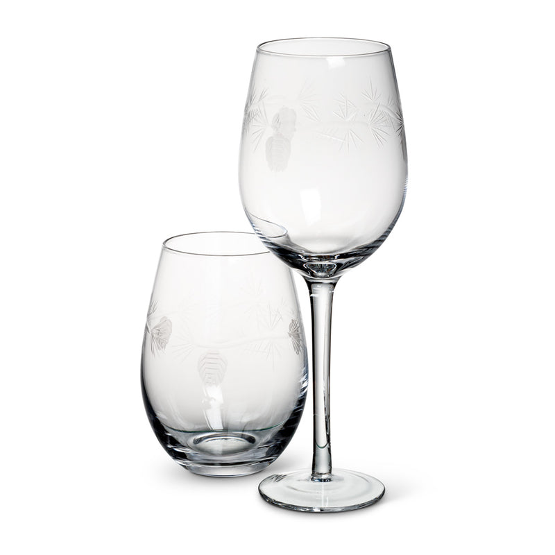 Cut Pinecone Stemless Goblets, AC-Abbott Collection, Putti Fine Furnishings