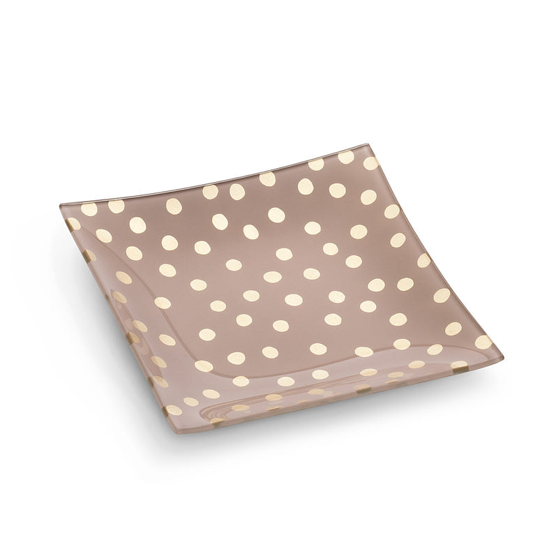 Small Square Plate with Dots - Pink