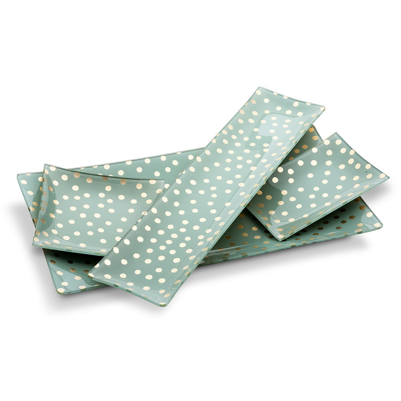Small Square Plate with Dots - Aqua
