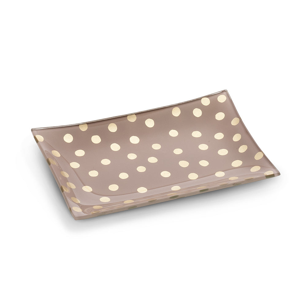 Small Rectangle Pink Plate with Dots
