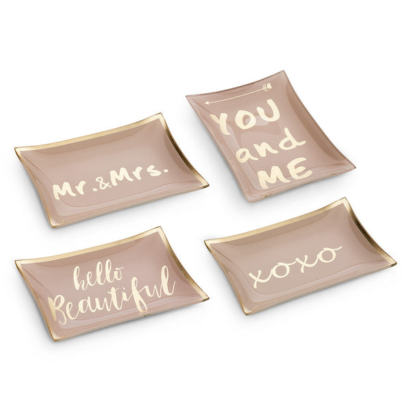 Rectangle Dish with Sayings - Pink-Decorative Accessories-AC-Abbott Collection-Mr & Mrs-Putti Fine Furnishings
