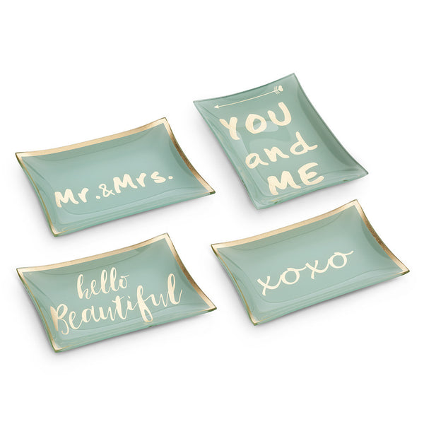 Rectangle Dish with Sayings - Aqua-Decorative Accessories-AC-Abbott Collection-Mr & Mrs-Putti Fine Furnishings