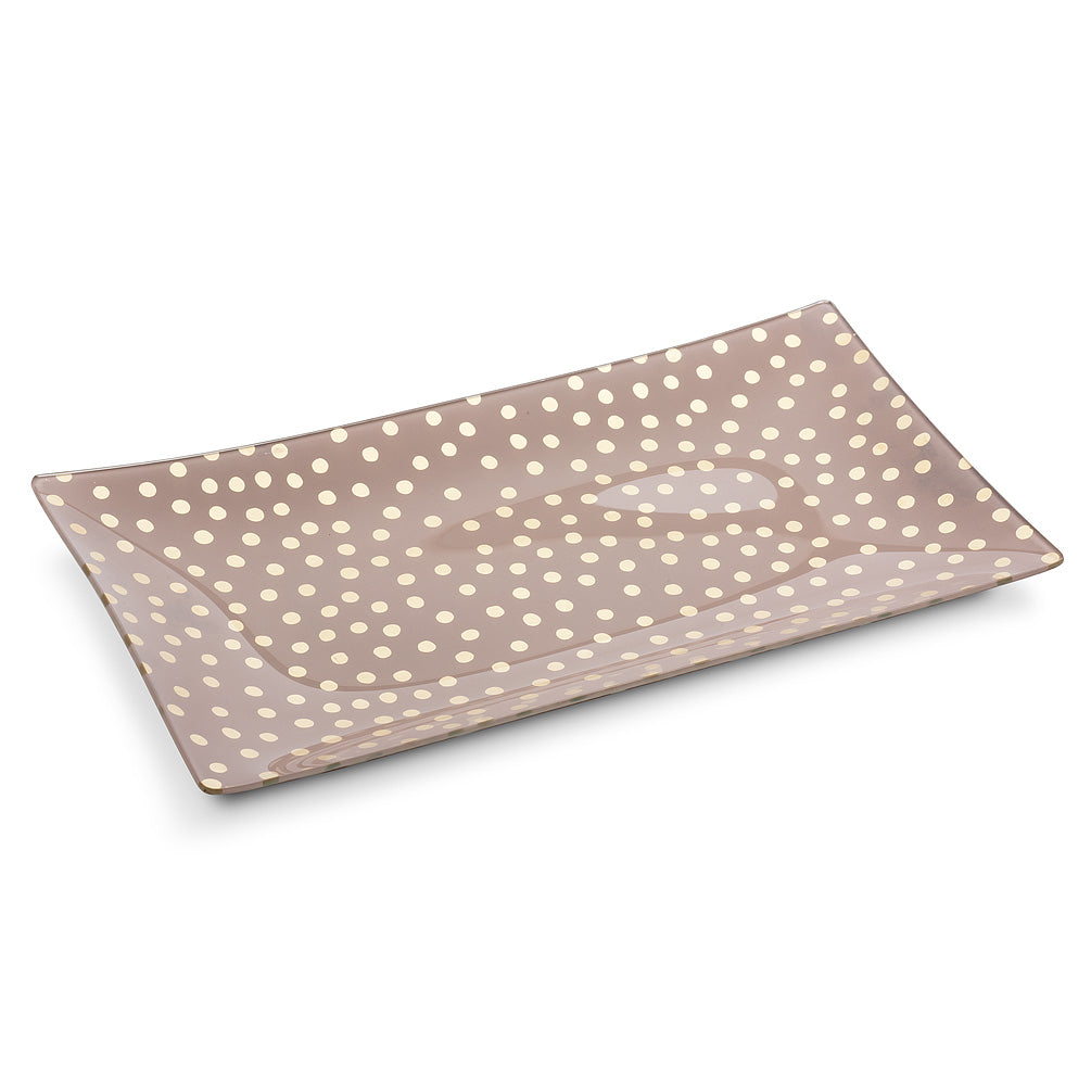 Large Rectangle Pink Plate with Dots | Putti Fine Furnishings