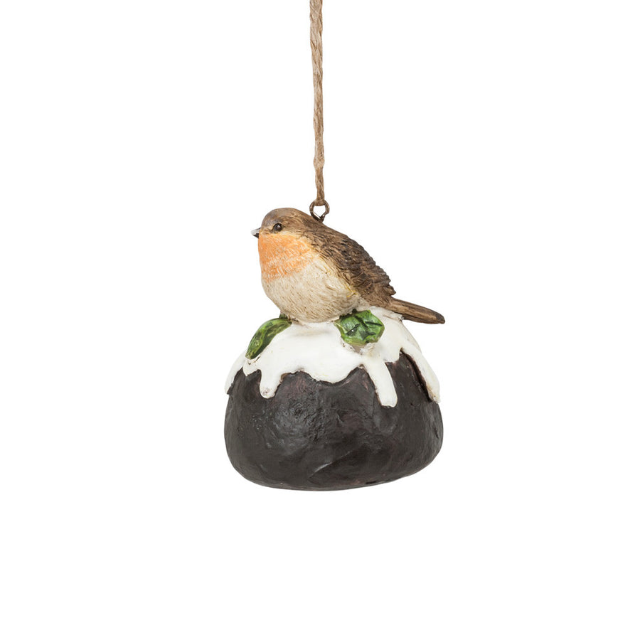 Bird on Christmas Pudding Ornament