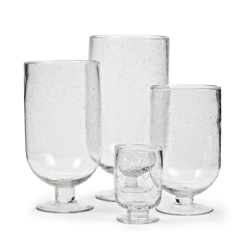 Seeded Glass Footed Hurricane - Medium -  Glassware - Abbot Collection - Putti Fine Furnishings Toronto Canada - 1