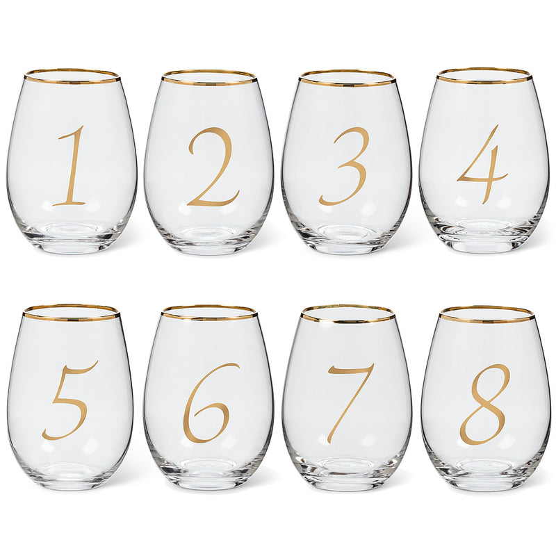 Gold Number Stemless Goblets – Set of 8, AC-Abbott Collection, Putti Fine Furnishings