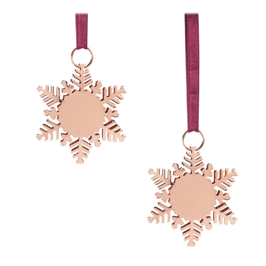 Rose Gold Snowflake Ornaments - Set of Two