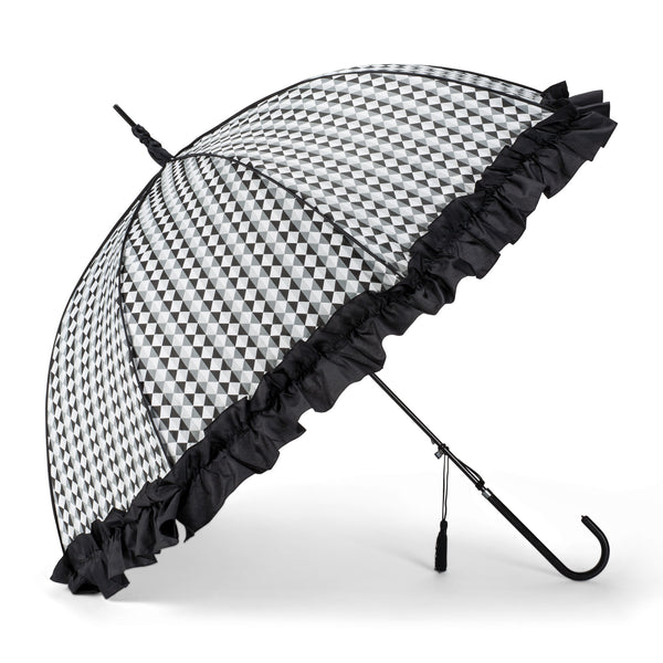 Black and White Check Umbrella with Ruffle -  Personal Accessories - Abbot Collection - Putti Fine Furnishings Toronto Canada - 1