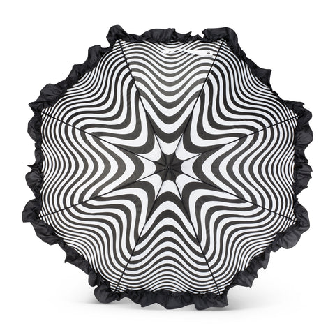 Black and White Swirl Print Umbrella with Ruffle -  Personal Accessories - Abbot Collection - Putti Fine Furnishings Toronto Canada - 1