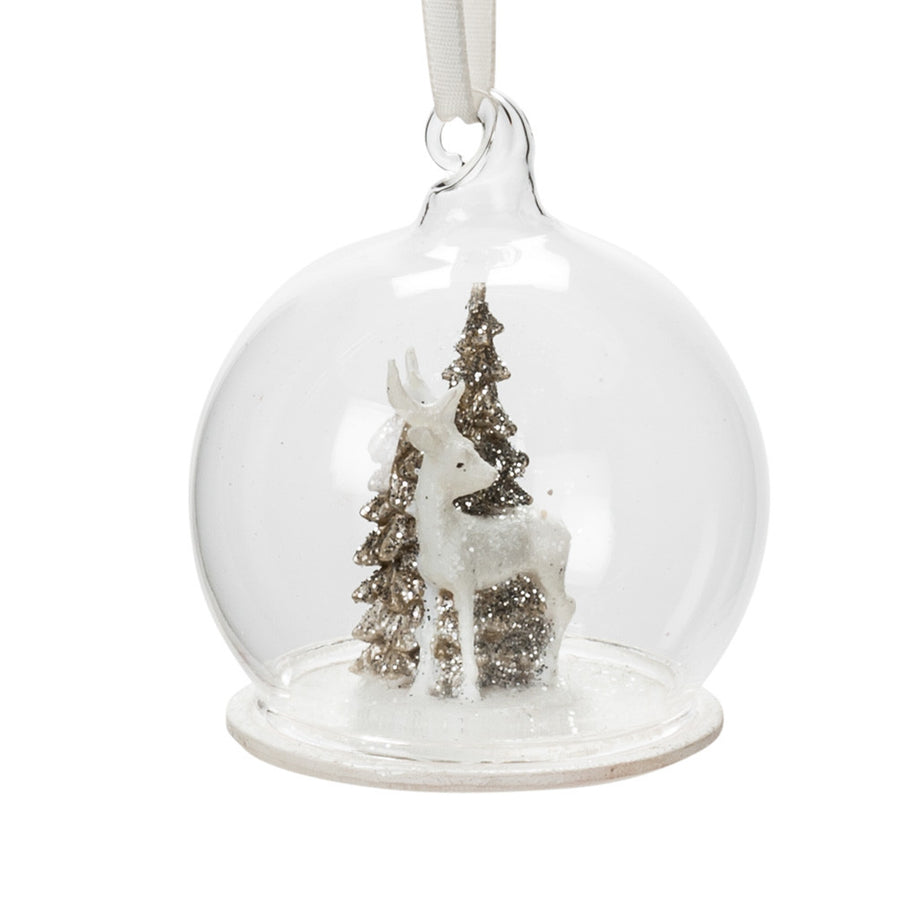 Reindeer in Glass Globe Ornament