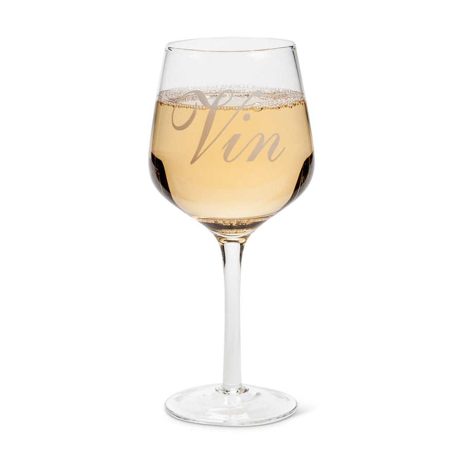 """Vin"" Words Wine Glass"