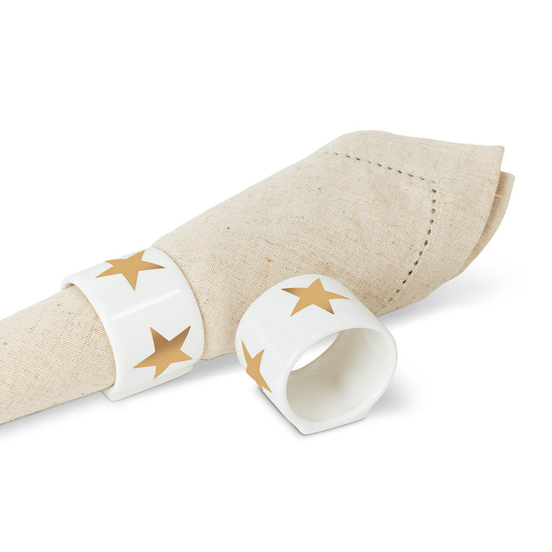 Gold Star Ceramic Napkin Ring, AC-Abbott Collection, Putti Fine Furnishings