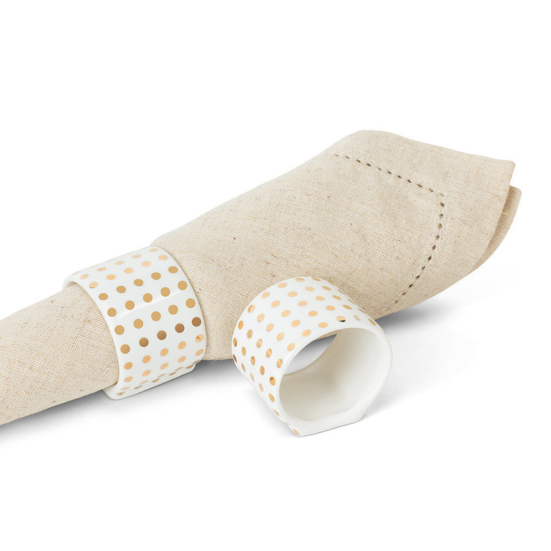 Gold Dot Ceramic Napkin Ring