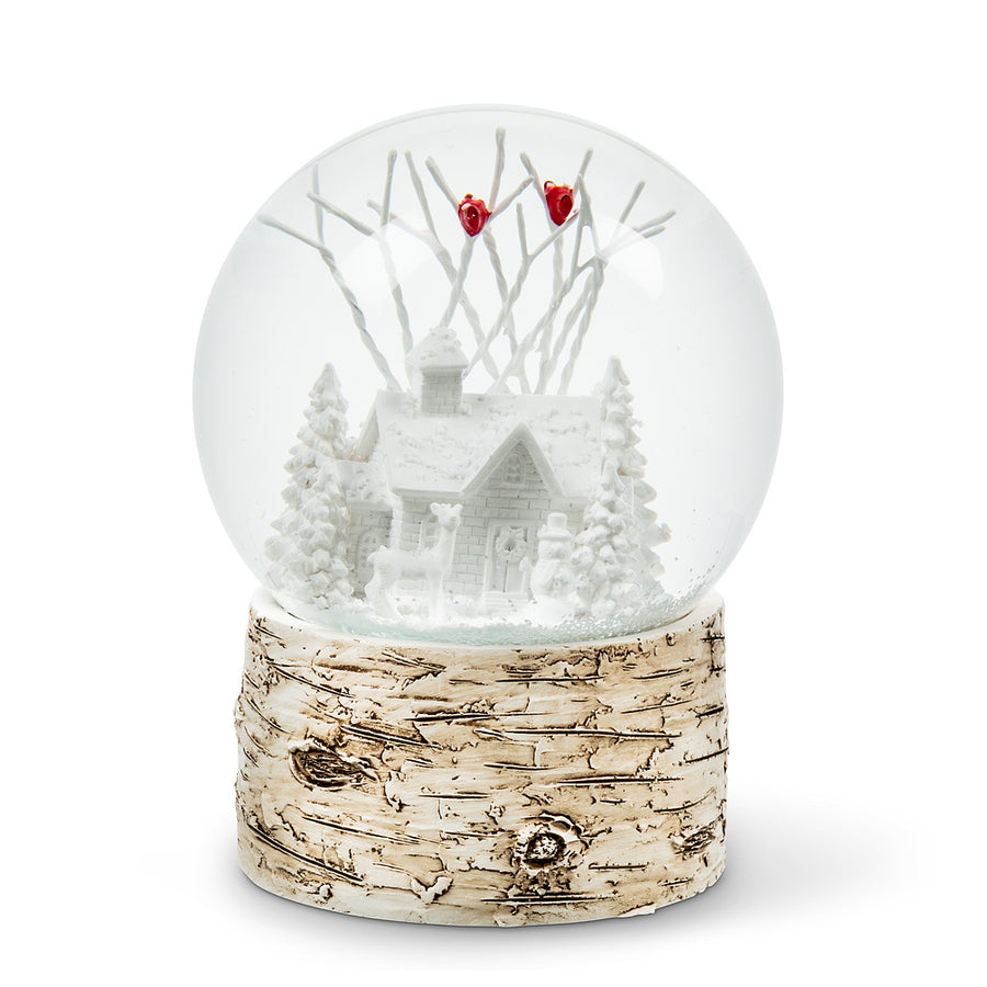 House with Cardinals Snow Globe