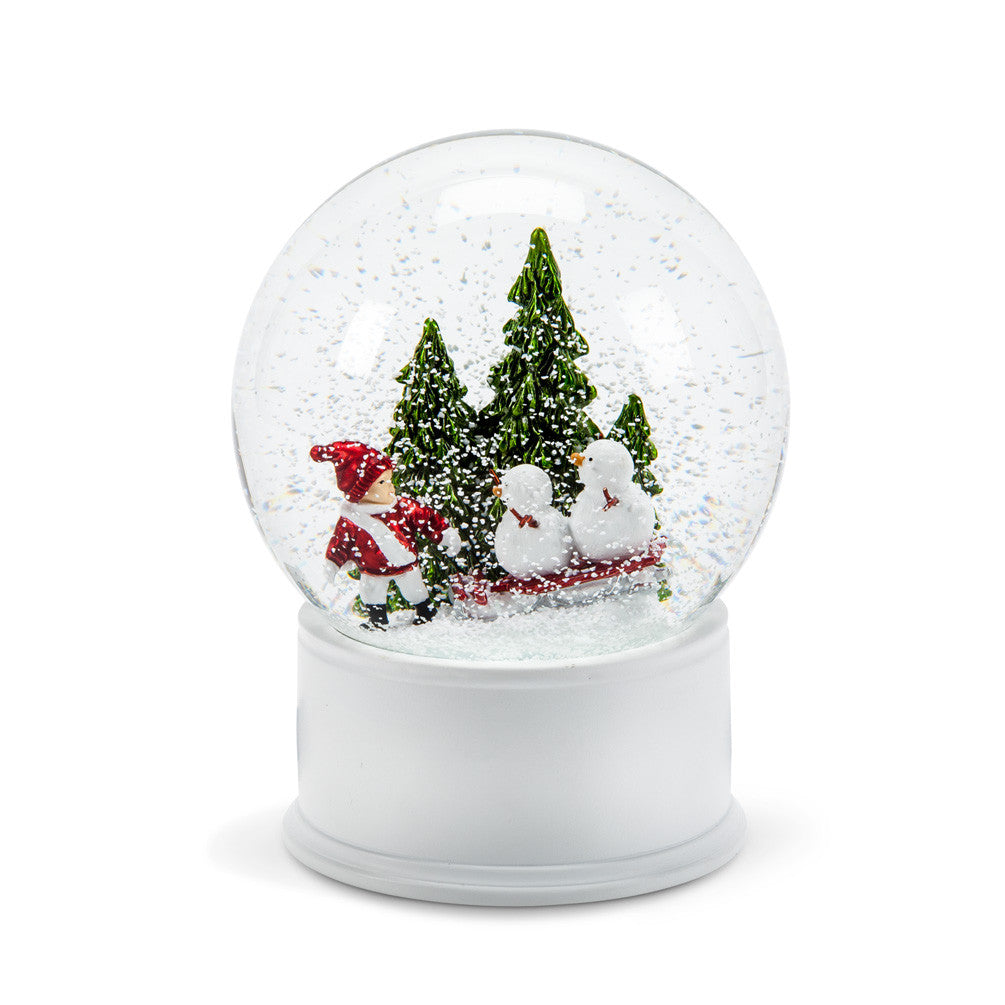Child & Snowman Snow Globe -  Christmas - AC-Abbot Collection - Putti Fine Furnishings Toronto Canada