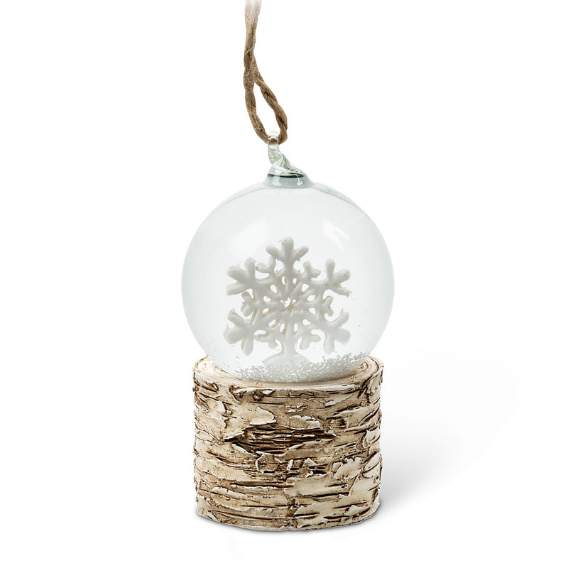 Small Snowflake Snowglobe Ornament, AC-Abbott Collection, Putti Fine Furnishings