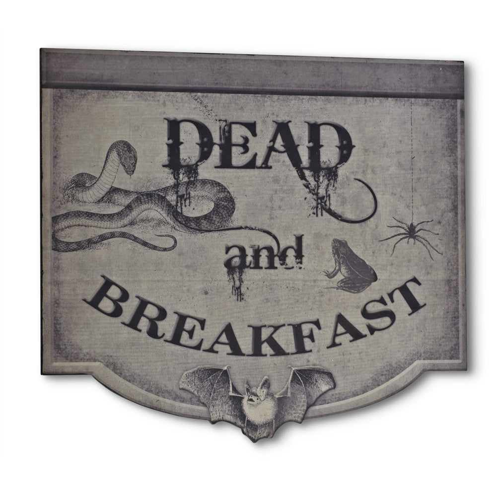 """Dead & Breakfast"" Wall Sign -  Halloween - AC-Abbott Collection - Putti Fine Furnishings Toronto Canada"