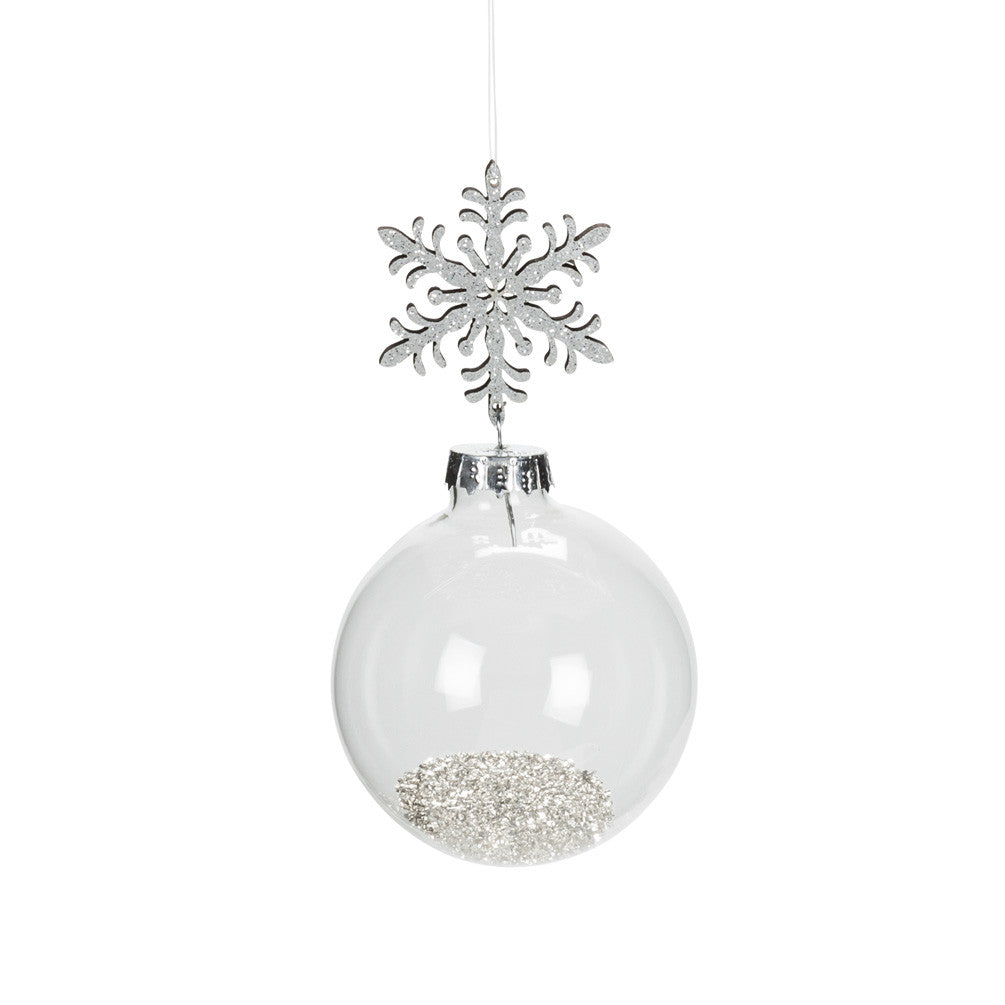 Snowflake and Ball Ornament with Silver Dust -  Christmas - AC-Abbot Collection - Putti Fine Furnishings Toronto Canada