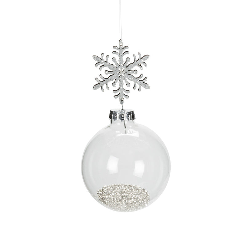 Snowflake and Ball Ornament with Silver Dust