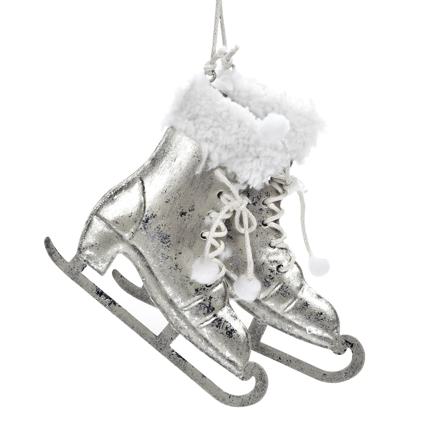 Pair of Silver and White Skates Ornament