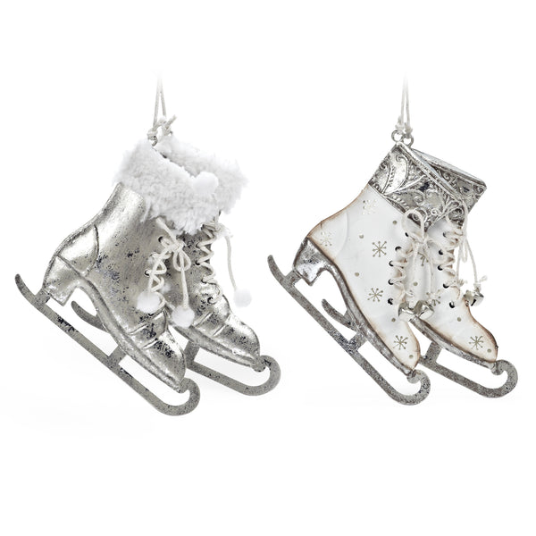 Pair of Silver and White Skates Ornament, AC-Abbott Collection, Putti Fine Furnishings