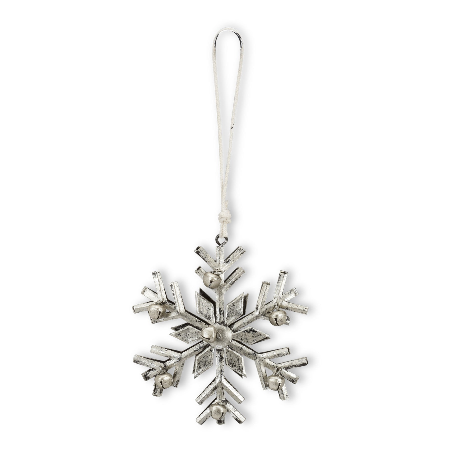 Silver Metal Snowflake Ornament with Bells, AC-Abbott Collection, Putti Fine Furnishings