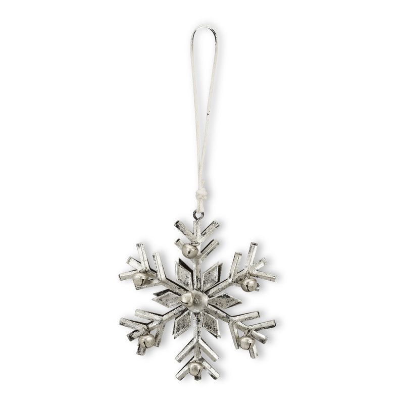 Silver Metal Snowflake Ornament with Bells