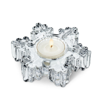 Thick Glass Snowflake Tealite Holder | Putti Christmas Canada