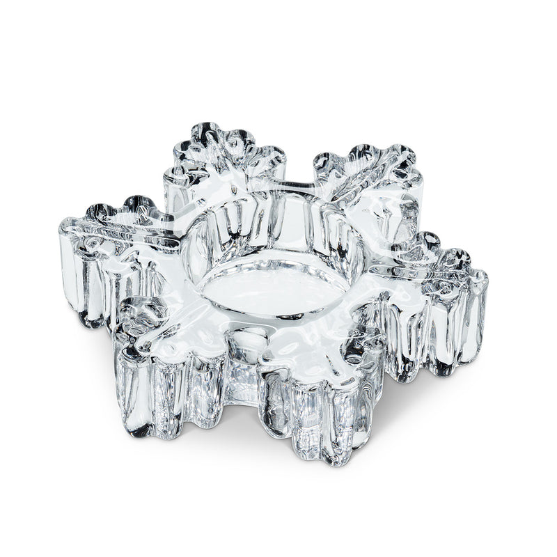 Thick Glass Snowflake Tealite Holder