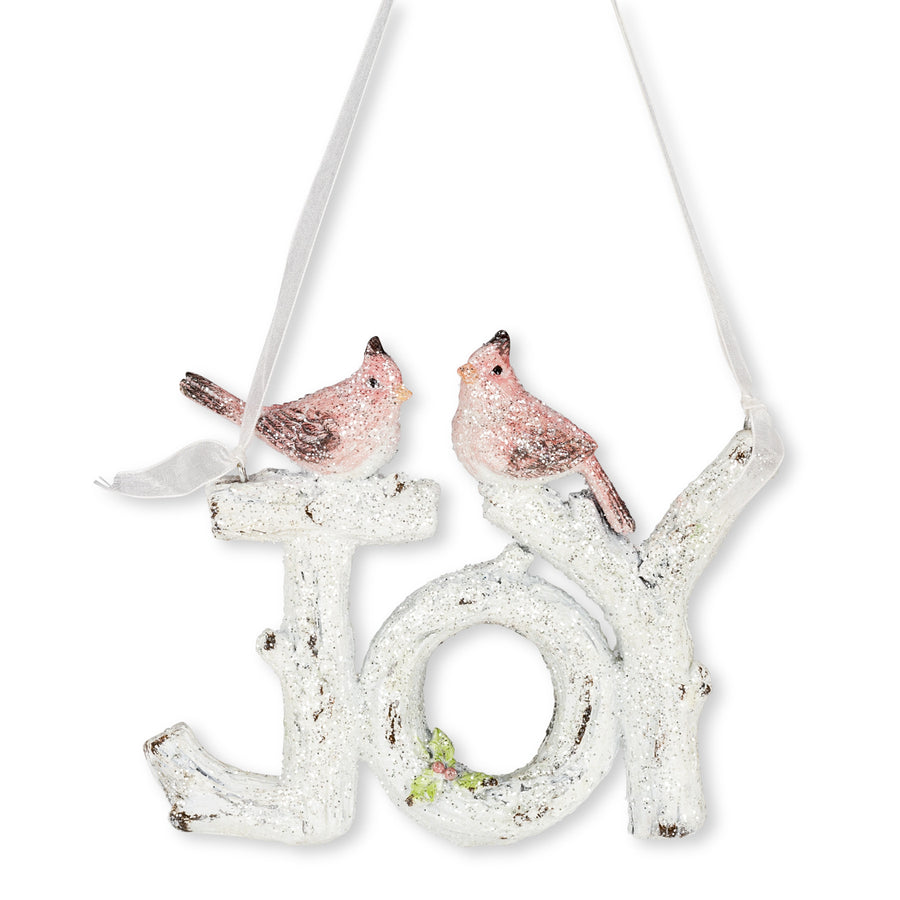 "Glitter ""Joy"" Sign with Birds, AC-Abbott Collection, Putti Fine Furnishings"