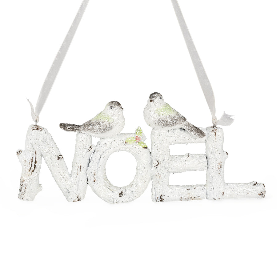 "Glitter ""Noel"" Sign with Birds, AC-Abbott Collection, Putti Fine Furnishings"