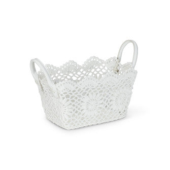 Small Rectangular Lace Basket, AC-Abbott Collection, Putti Fine Furnishings