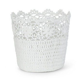 Medium Round Lace Basket-Baskets-AC-Abbott Collection-Putti Fine Furnishings