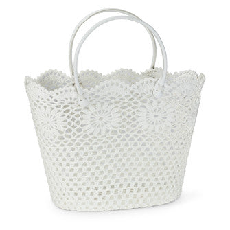 Lace Tote Basket with Handles - Large