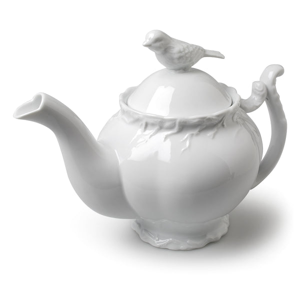 Bird & Branch Teapot - White-Tableware-AC-Abbott Collection-Putti Fine Furnishings